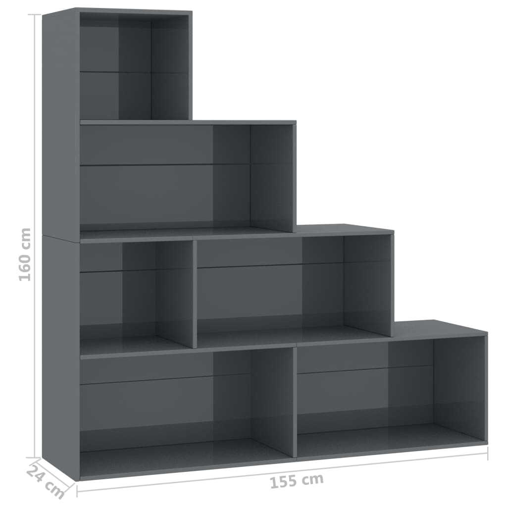 Book Cabinet/Room Divider High Gloss Grey 155x24x160 cm Chipboard 6