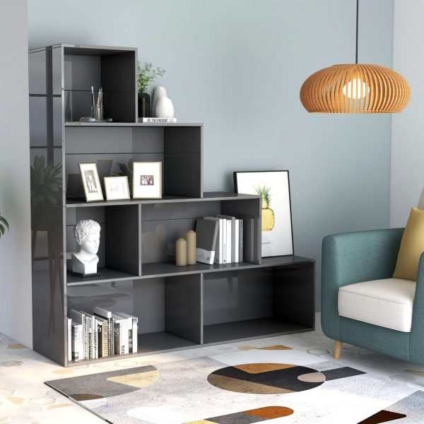 Book Cabinet/Room Divider High Gloss Grey 155x24x160 cm Chipboard 1