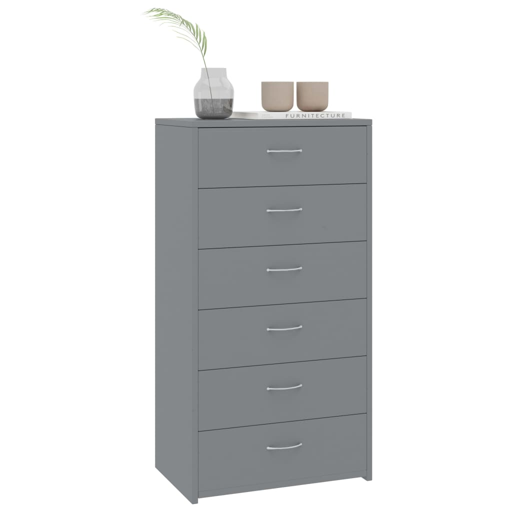 Sideboard with 7 Drawers Grey 50x34x96 cm Chipboard 3