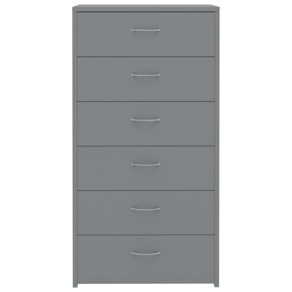 Sideboard with 7 Drawers Grey 50x34x96 cm Chipboard 4