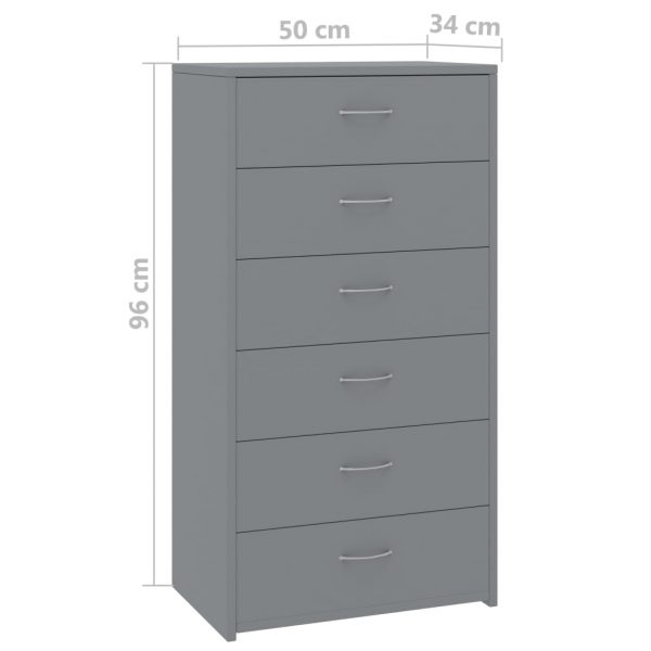 Sideboard with 7 Drawers Grey 50x34x96 cm Chipboard 6