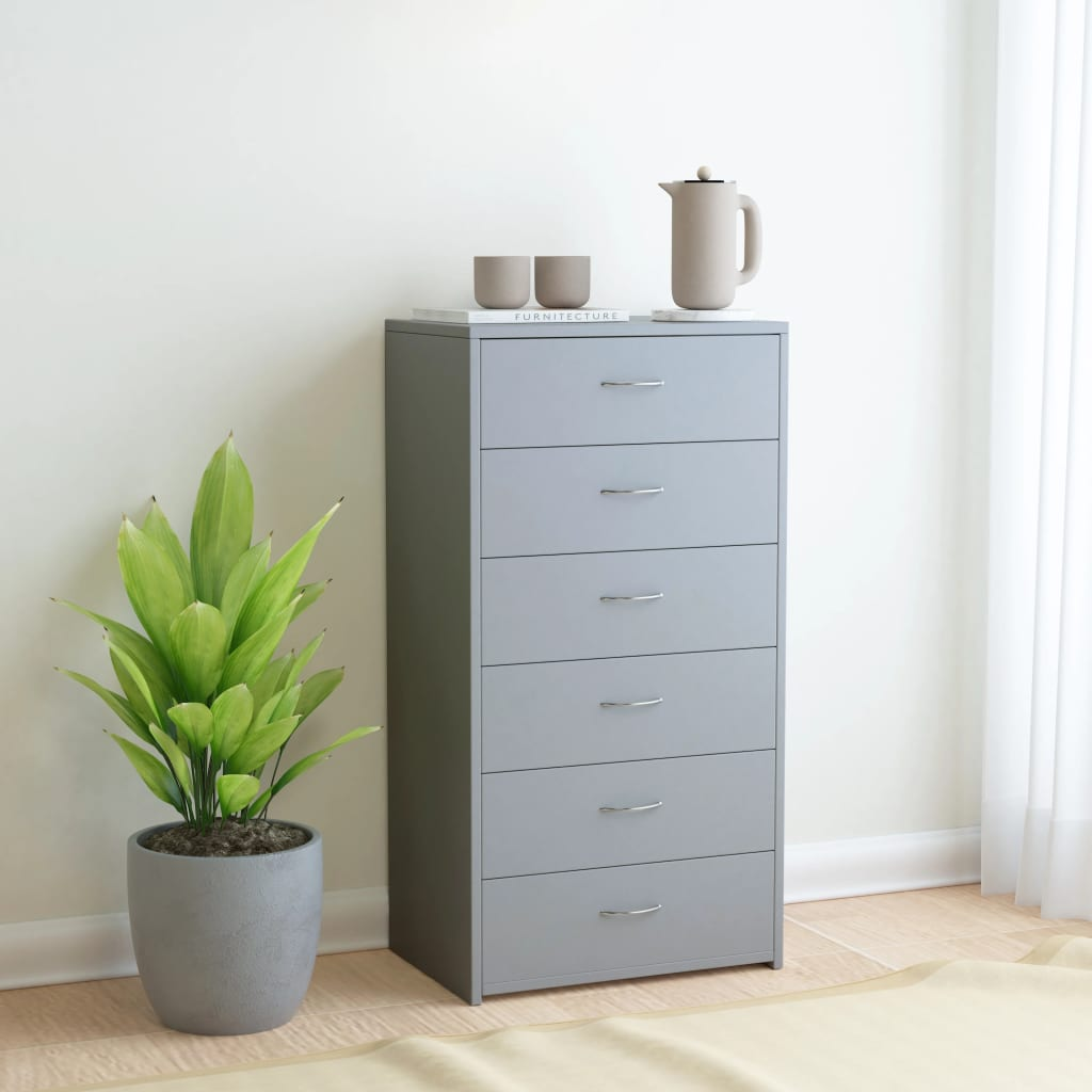 Sideboard with 7 Drawers Grey 50x34x96 cm Chipboard 1