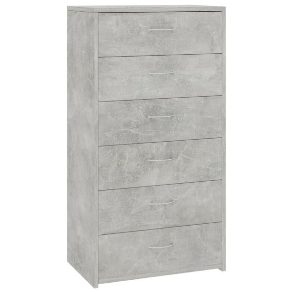 Sideboard with 7 Drawers Concrete Grey 50x34x96 cm Chipboard 2