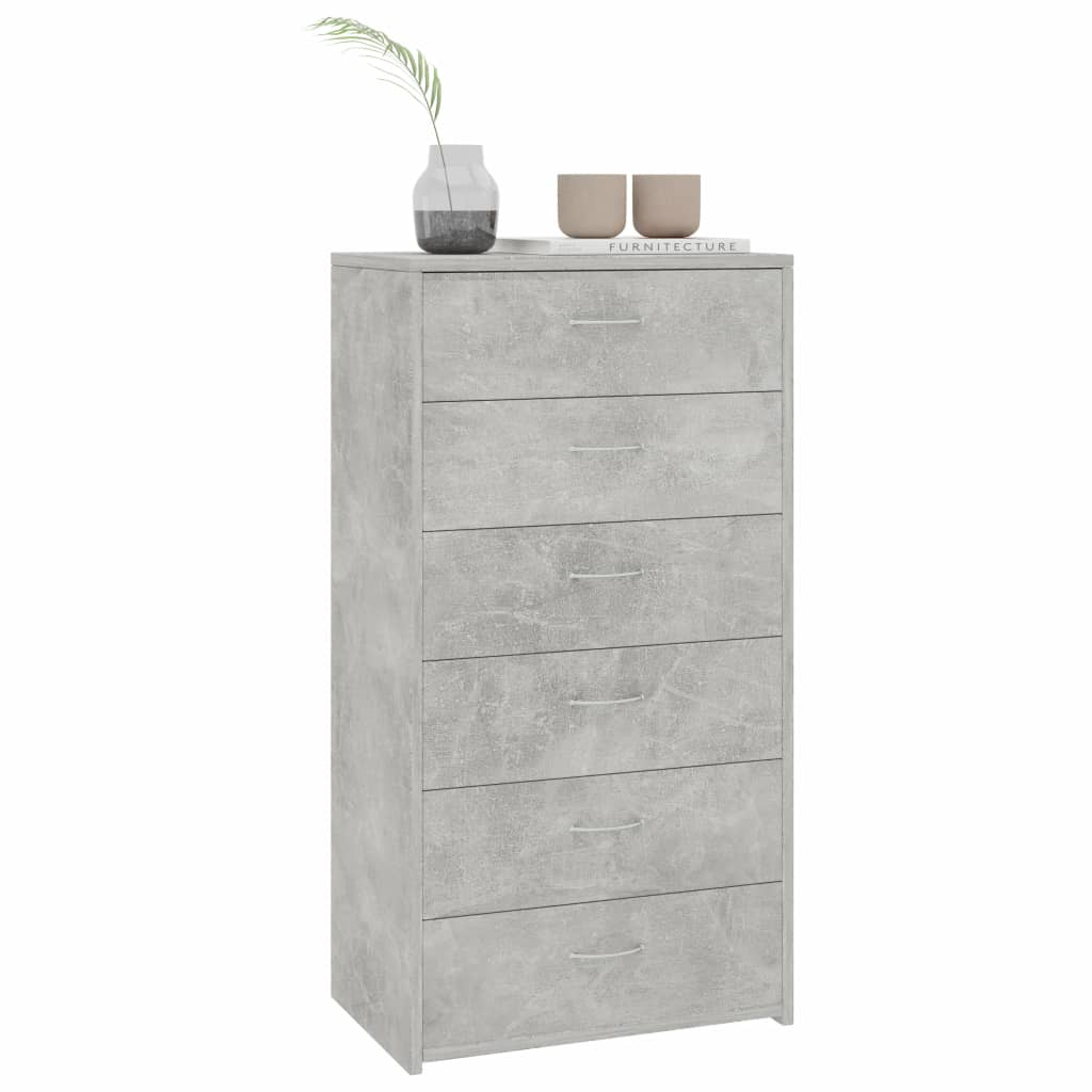 Sideboard with 7 Drawers Concrete Grey 50x34x96 cm Chipboard 3