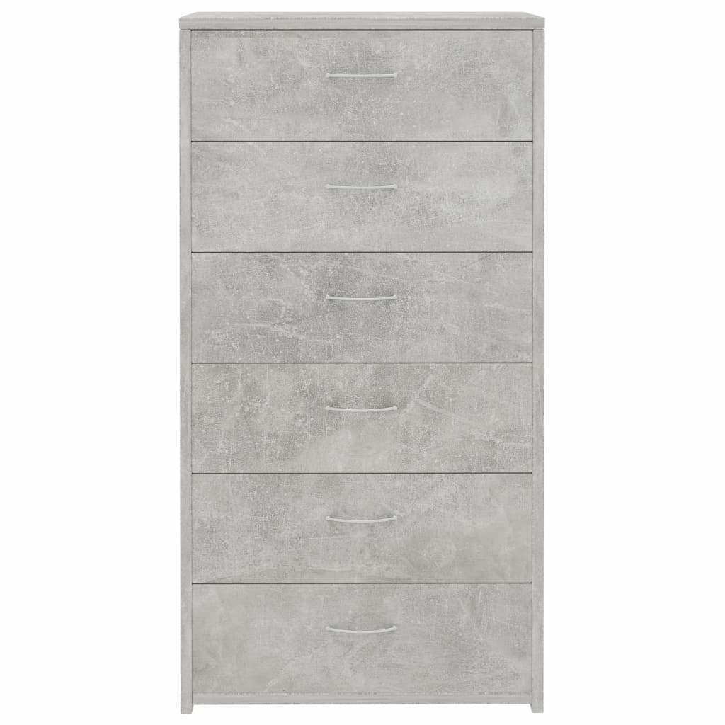 Sideboard with 7 Drawers Concrete Grey 50x34x96 cm Chipboard 4