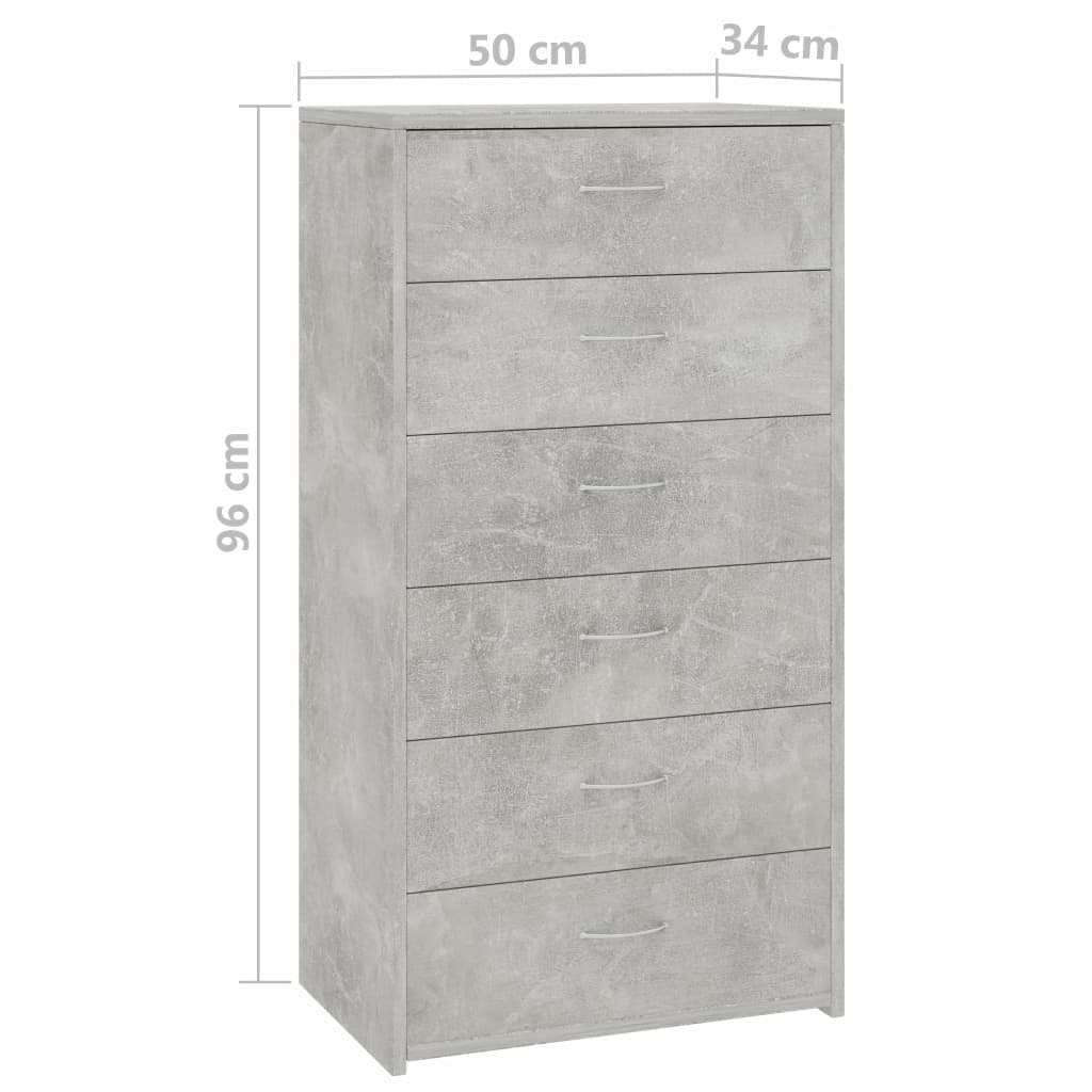 Sideboard with 7 Drawers Concrete Grey 50x34x96 cm Chipboard 6