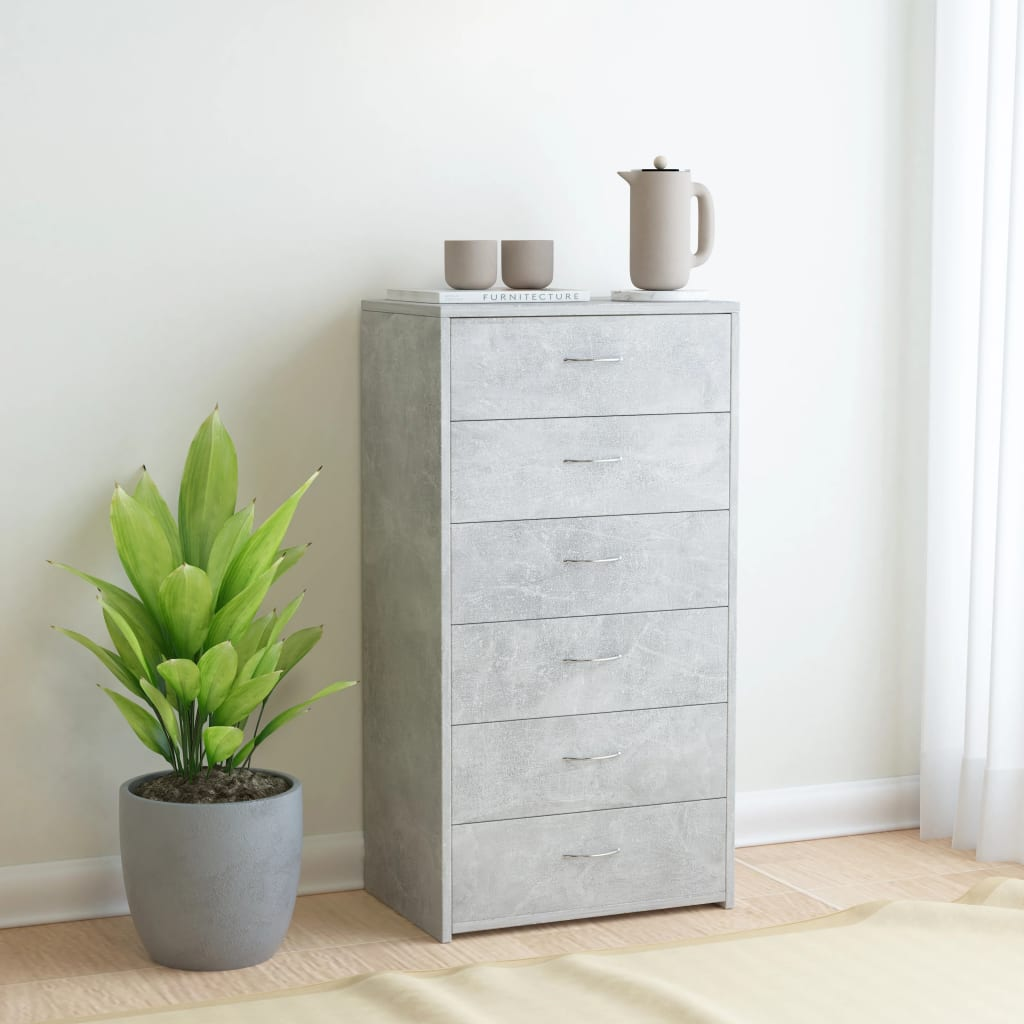 Sideboard with 7 Drawers Concrete Grey 50x34x96 cm Chipboard