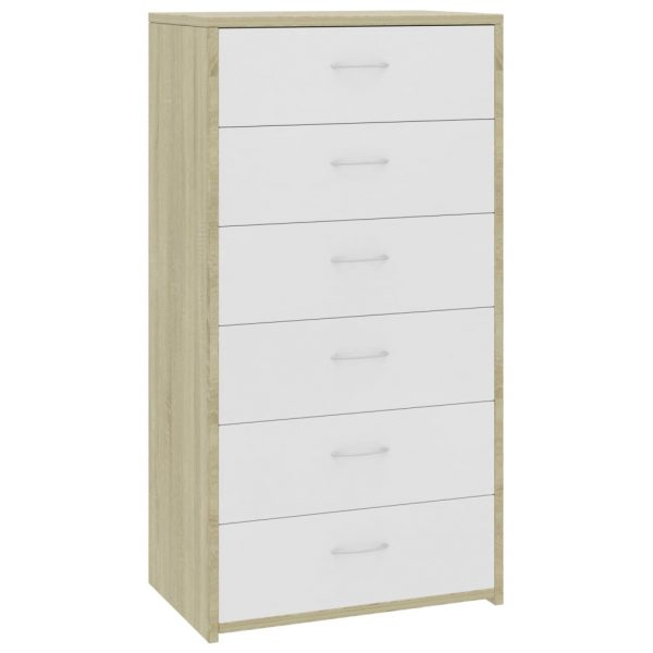 Sideboard with 7 Drawers White and Sonoma Oak 50x34x96 cm Chipboard 2