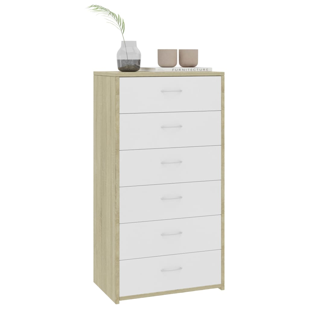 Sideboard with 7 Drawers White and Sonoma Oak 50x34x96 cm Chipboard 3