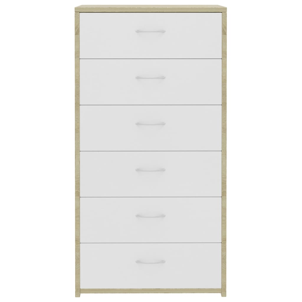 Sideboard with 7 Drawers White and Sonoma Oak 50x34x96 cm Chipboard 4