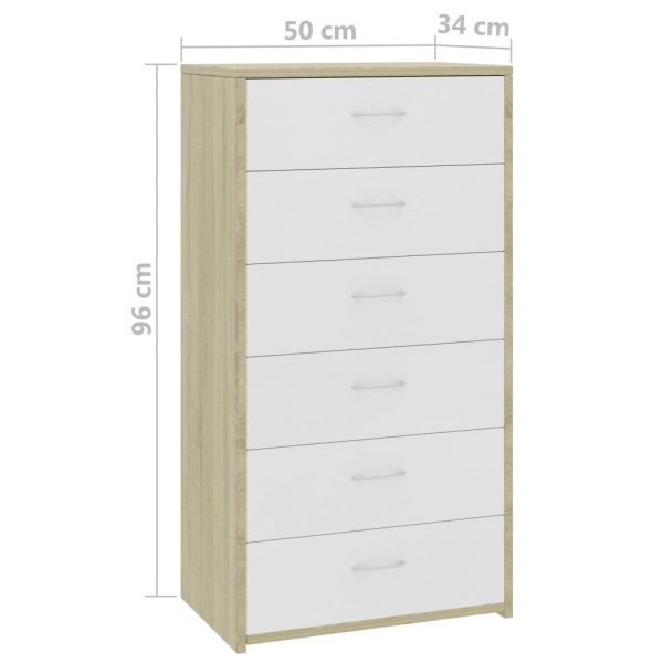 Sideboard with 7 Drawers White and Sonoma Oak 50x34x96 cm Chipboard 6