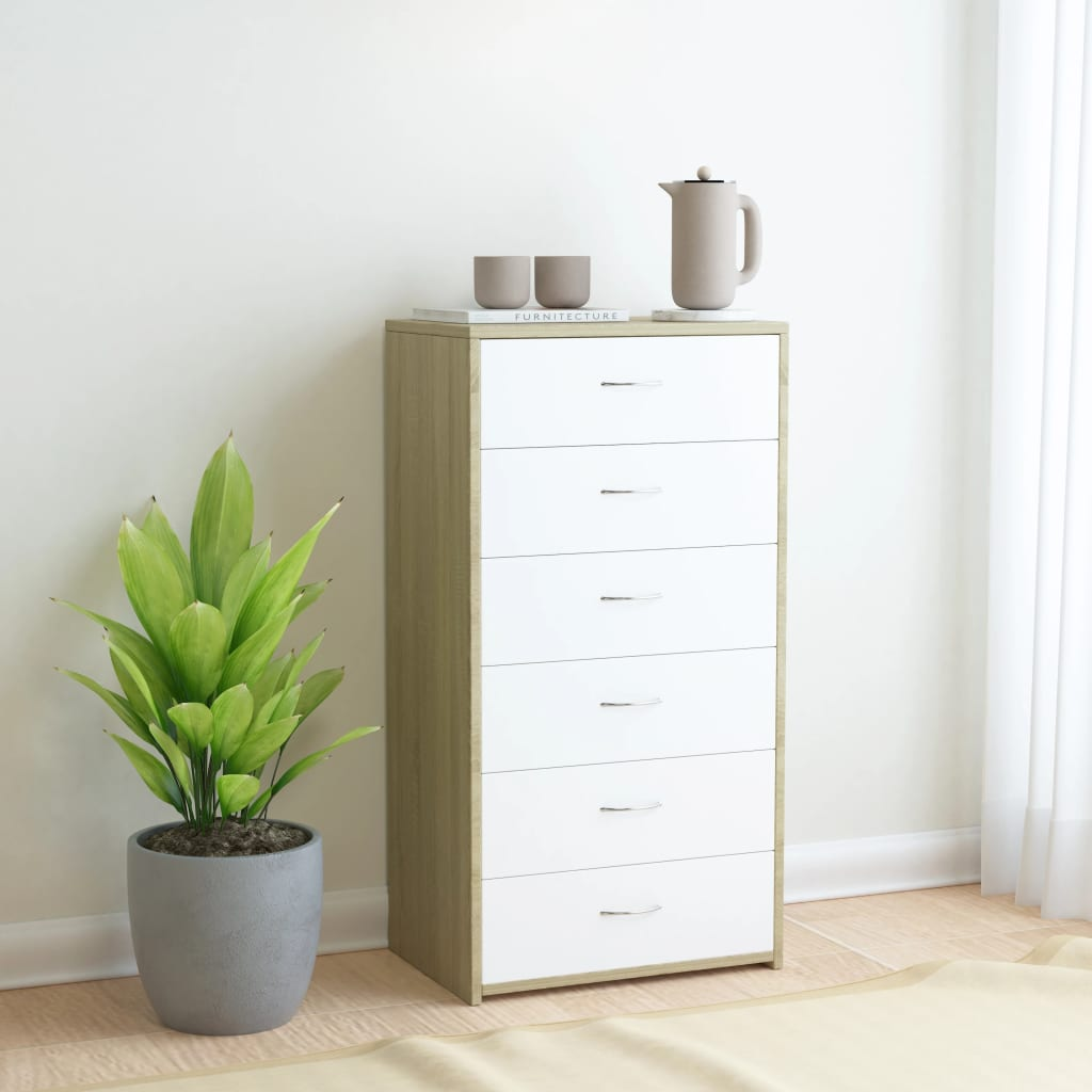 Sideboard with 7 Drawers White and Sonoma Oak 50x34x96 cm Chipboard