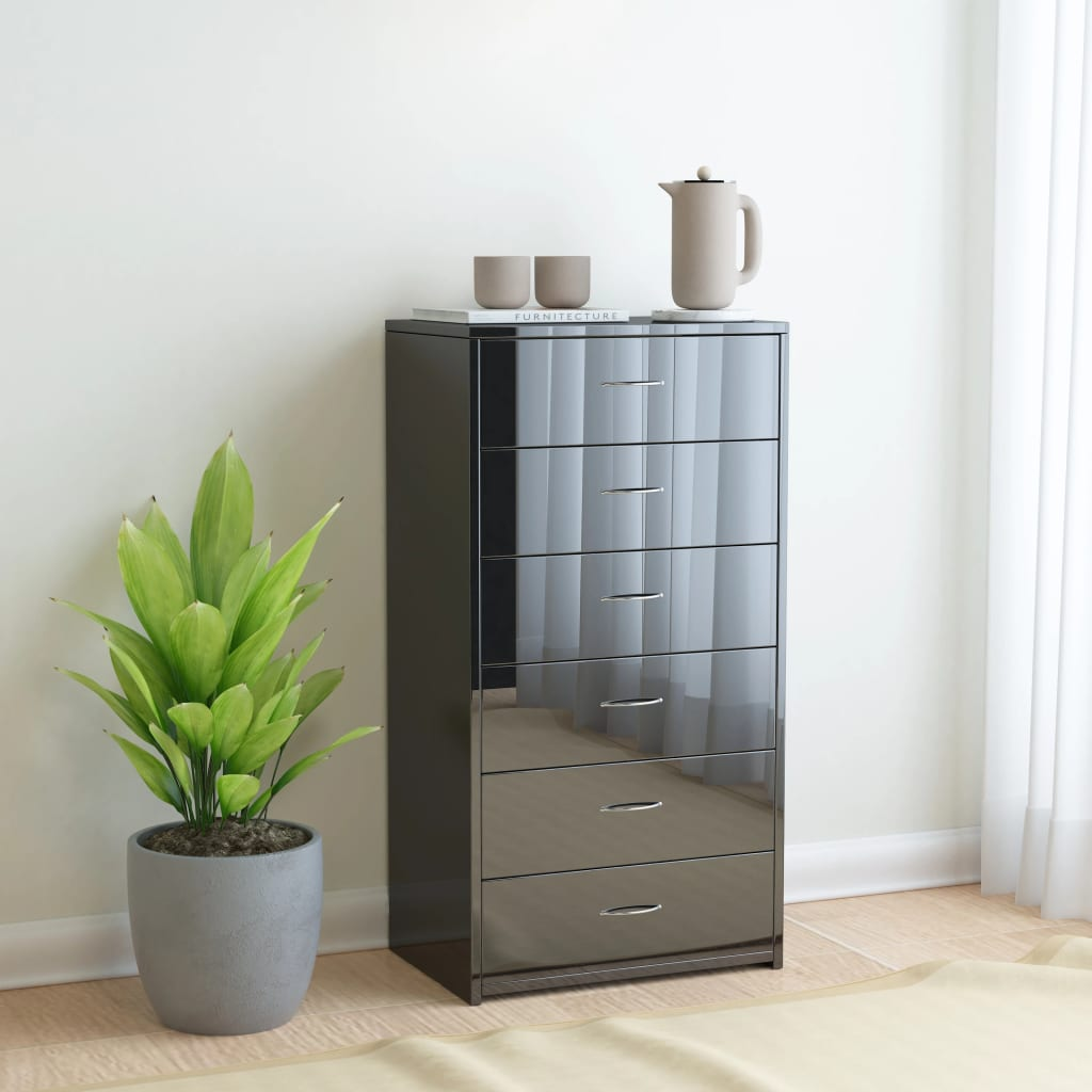 Sideboard with 7 Drawers High Gloss Black 50x34x96 cm Chipboard