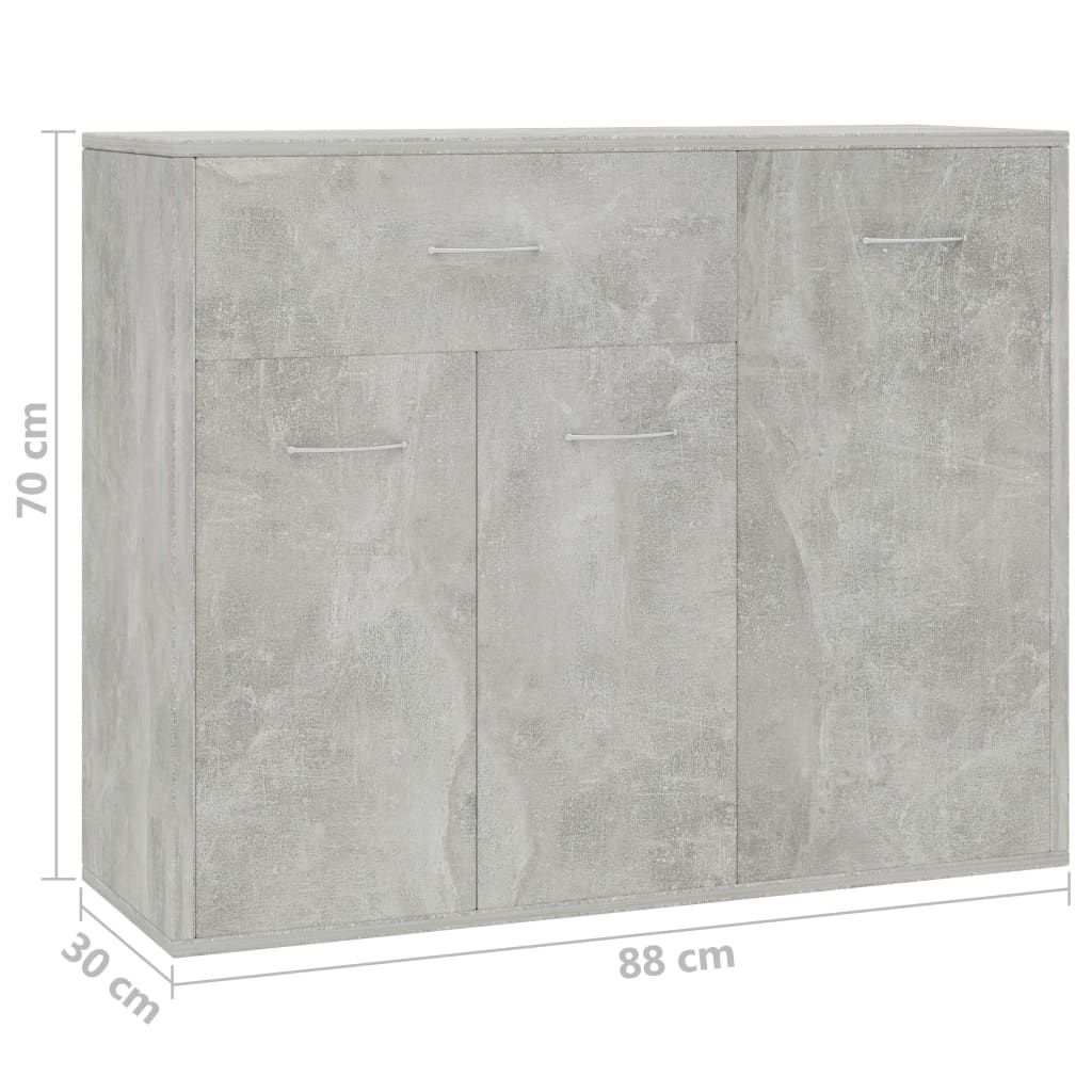 Sideboard Concrete Grey 88x30x70 cm Chipboard 6