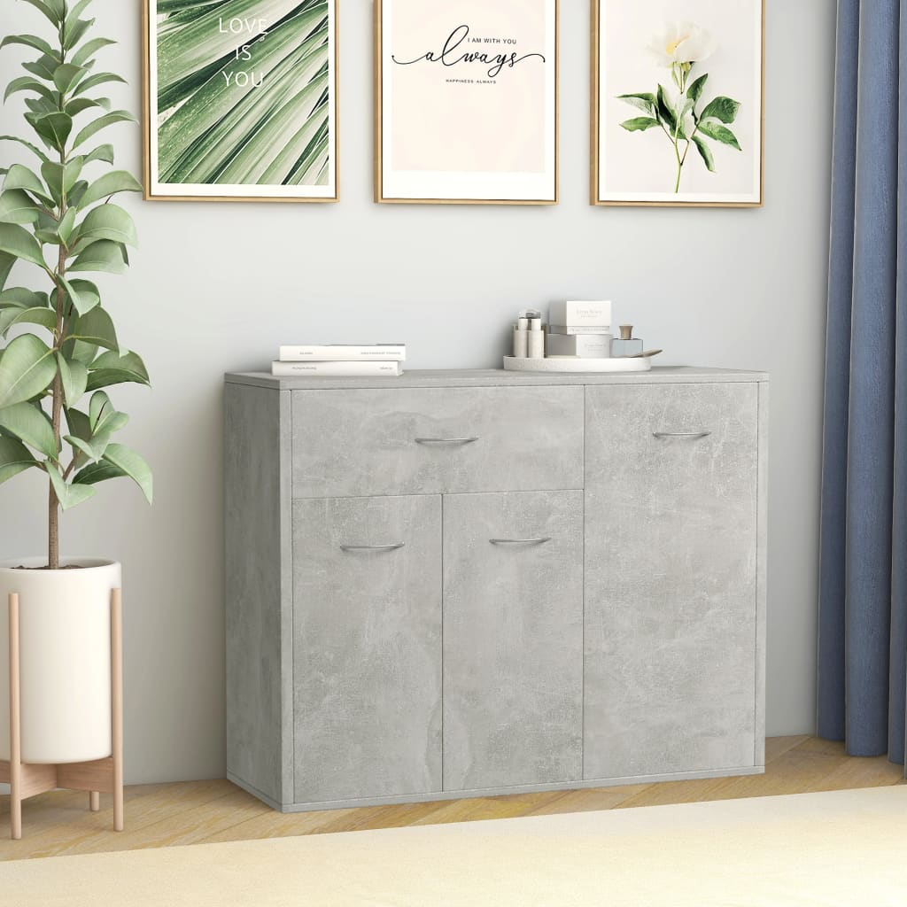 Sideboard Concrete Grey 88x30x70 cm Chipboard 1