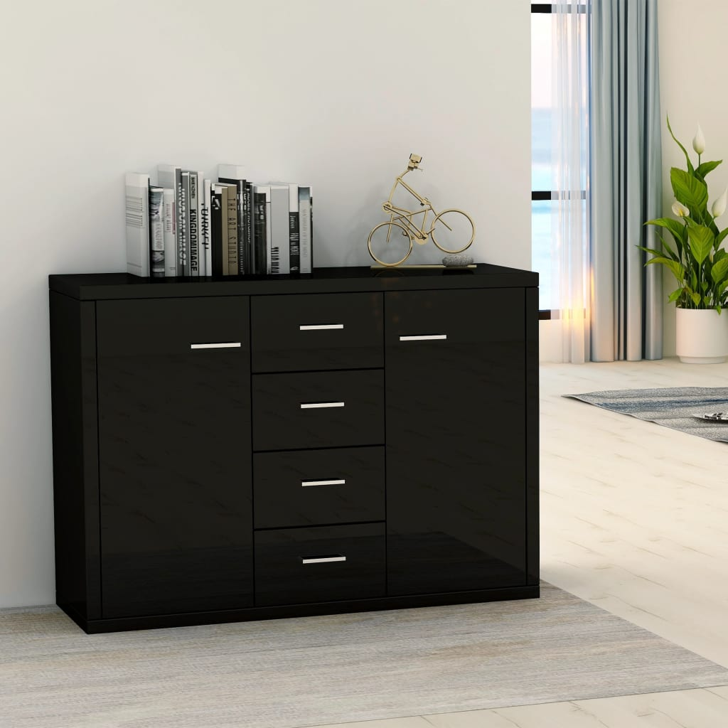 Sideboard High Gloss Black 88x30x75 cm Chipboard