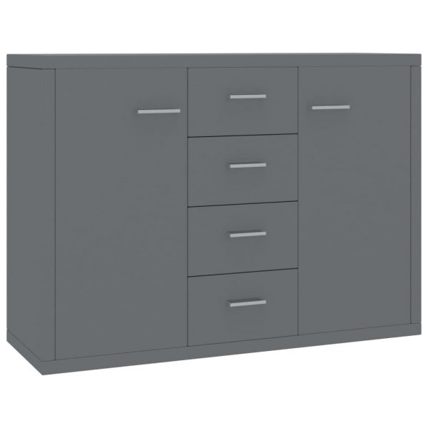 Sideboard High Gloss Grey 88x30x75 cm Chipboard 2