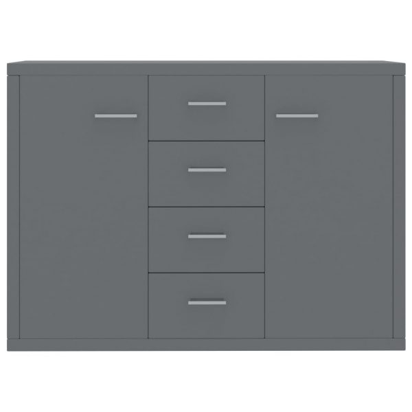 Sideboard High Gloss Grey 88x30x75 cm Chipboard 4