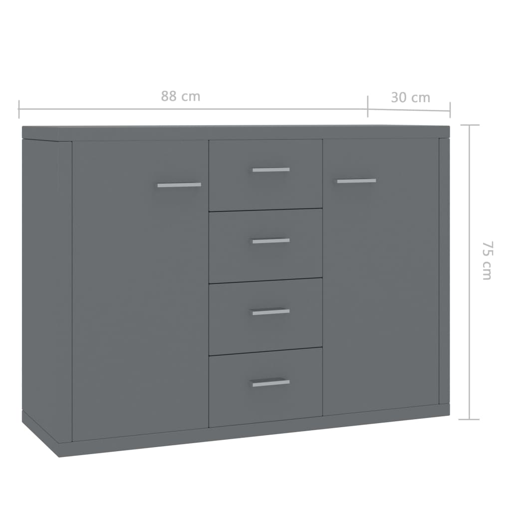 Sideboard High Gloss Grey 88x30x75 cm Chipboard 6
