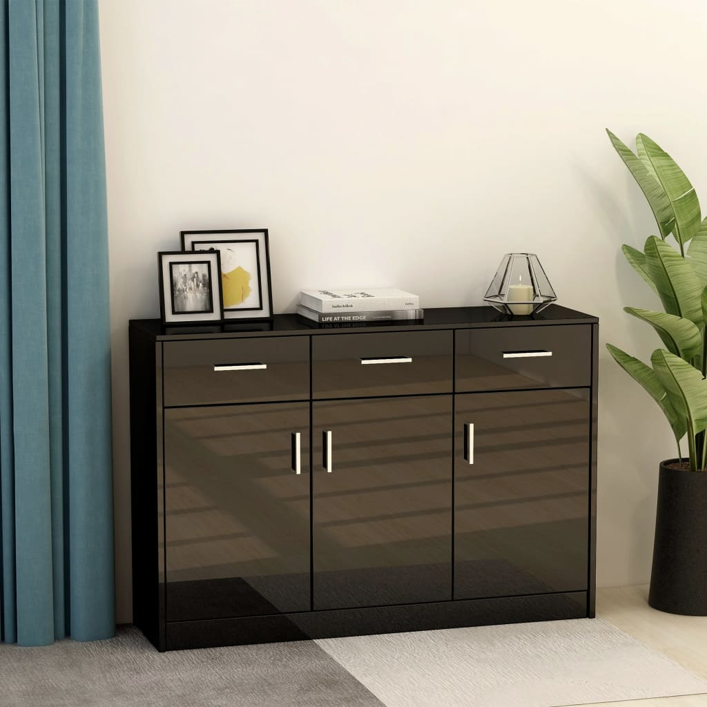 Sideboard High Gloss Black 110x34x75 cm Chipboard