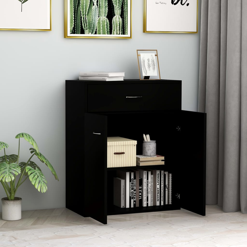Sideboard Black 60x30x75 cm Chipboard 3