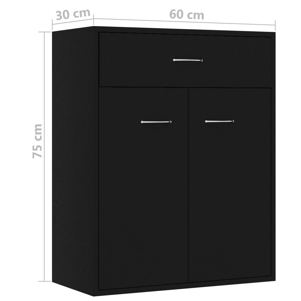 Sideboard Black 60x30x75 cm Chipboard 9
