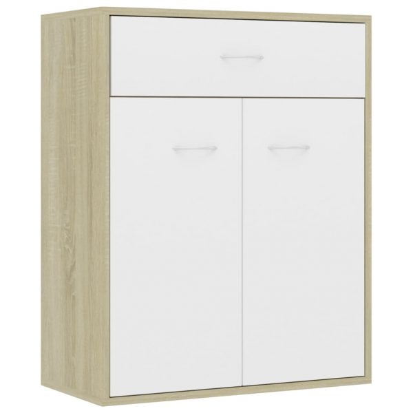 Sideboard White and Sonoma Oak 60x30x75 cm Chipboard 2