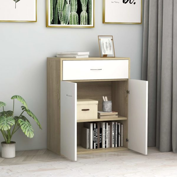 Sideboard White and Sonoma Oak 60x30x75 cm Chipboard 3