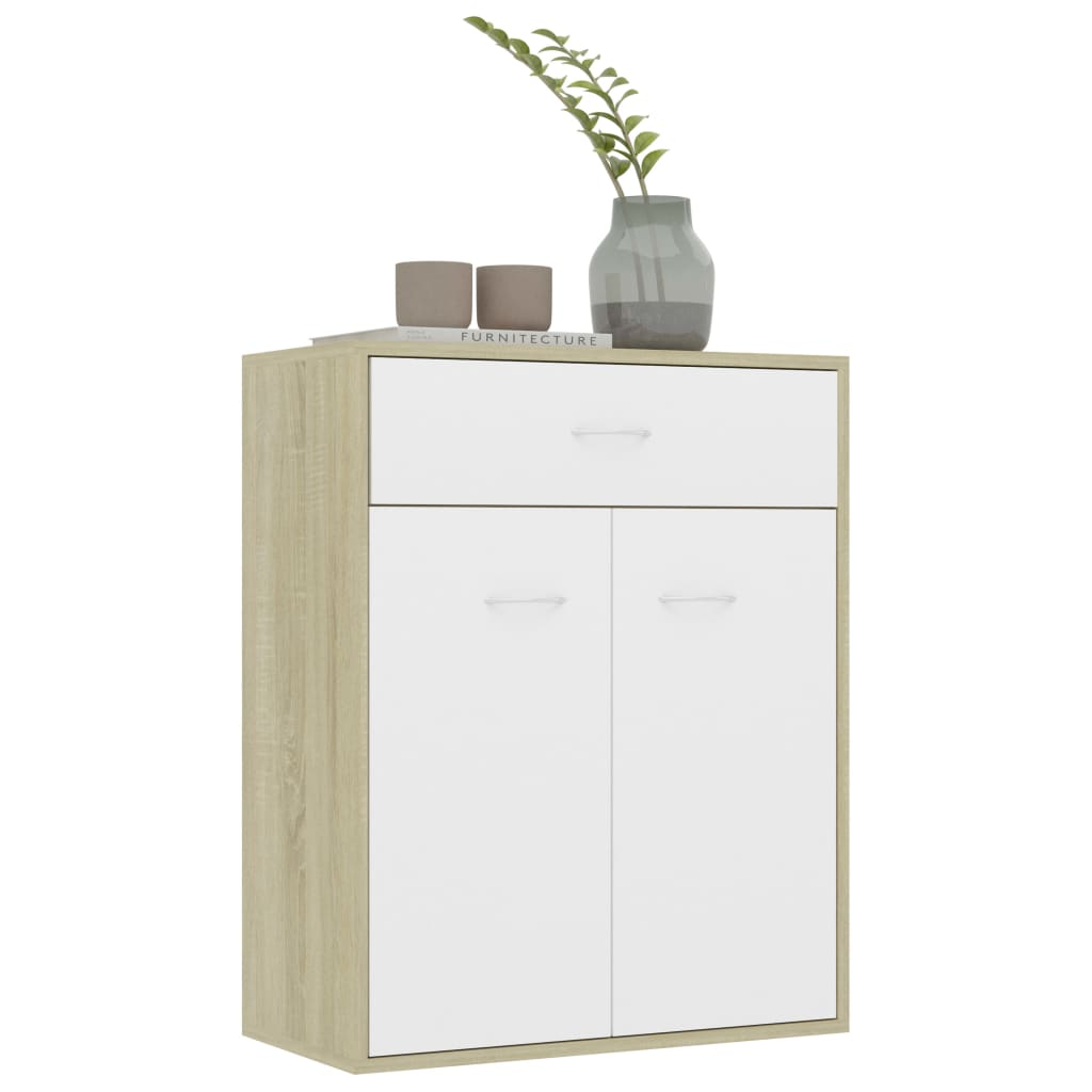Sideboard White and Sonoma Oak 60x30x75 cm Chipboard 5