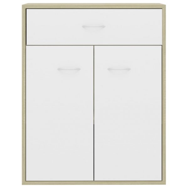 Sideboard White and Sonoma Oak 60x30x75 cm Chipboard 7