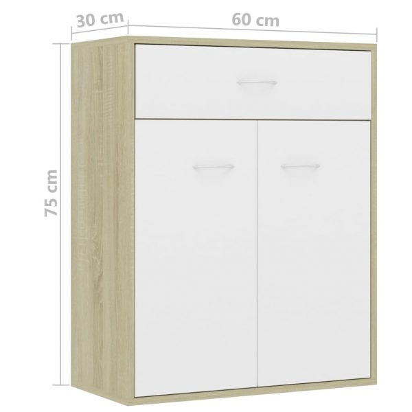 Sideboard White and Sonoma Oak 60x30x75 cm Chipboard 9