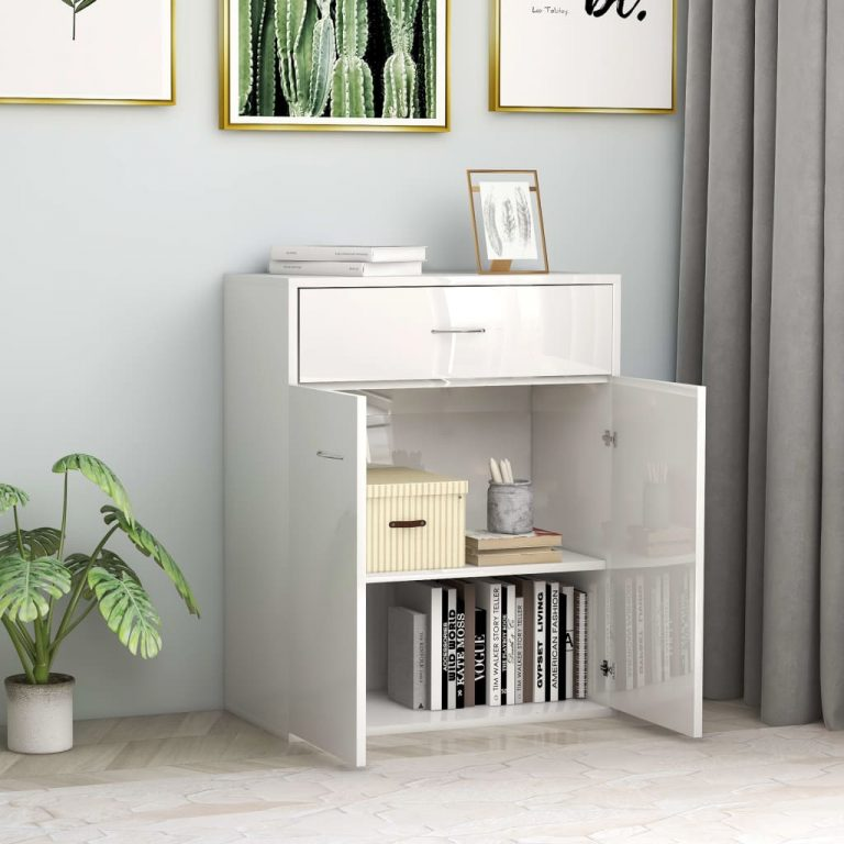 Sideboard High Gloss White 60x30x75 cm Chipboard 3