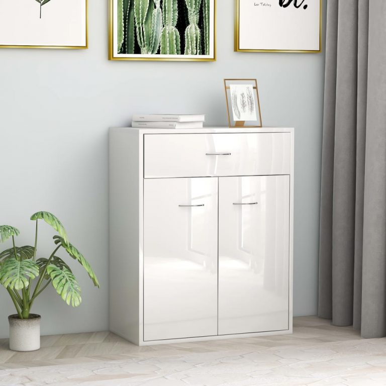 Sideboard High Gloss White 60x30x75 cm Chipboard 1
