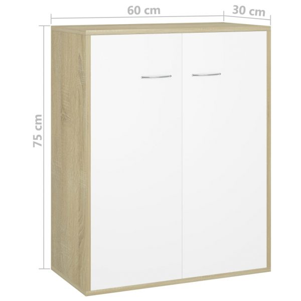 Sideboard White and Sonoma Oak 60x30x75 cm Chipboard 6
