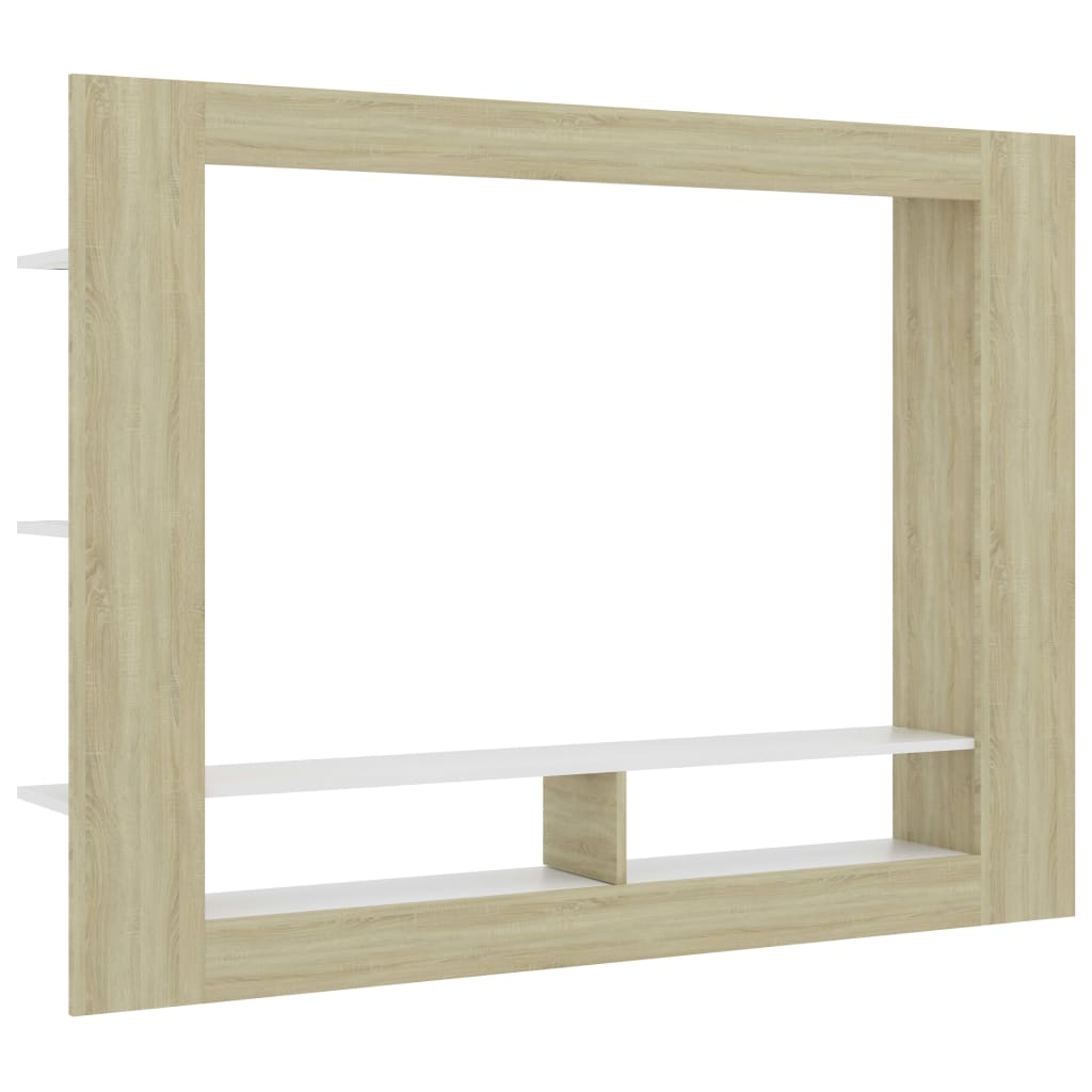 TV Cabinet White and Sonoma Oak 152x22x113 cm Chipboard 2