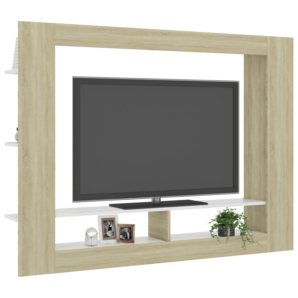 TV Cabinet White and Sonoma Oak 152x22x113 cm Chipboard 3