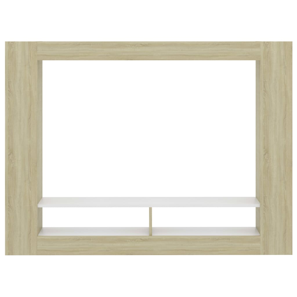 TV Cabinet White and Sonoma Oak 152x22x113 cm Chipboard 4