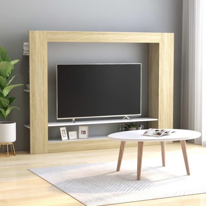 TV Cabinet White and Sonoma Oak 152x22x113 cm Chipboard 1
