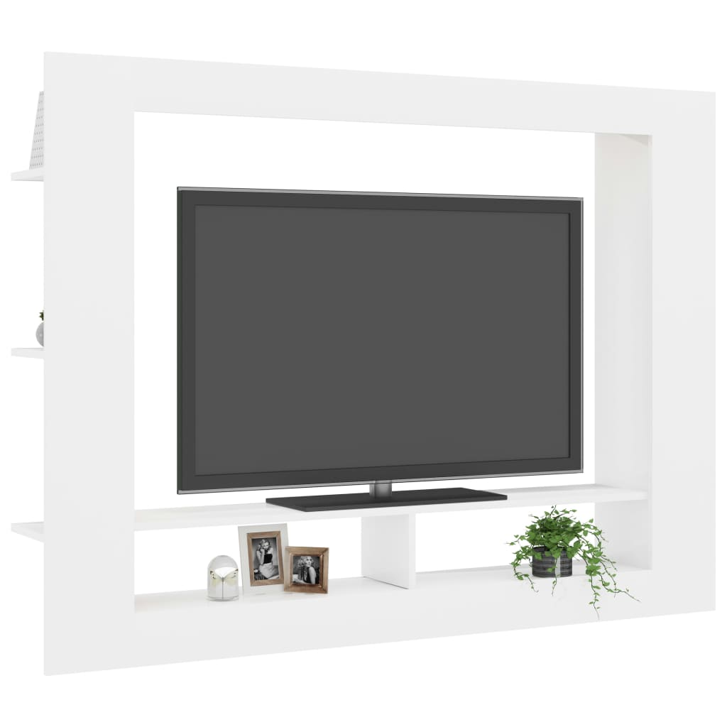 TV Cabinet High Gloss White 152x22x113 cm Chipboard 3