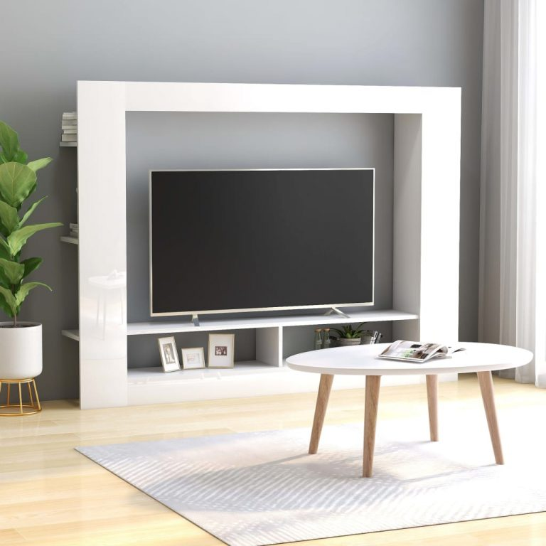 TV Cabinet High Gloss White 152x22x113 cm Chipboard 1