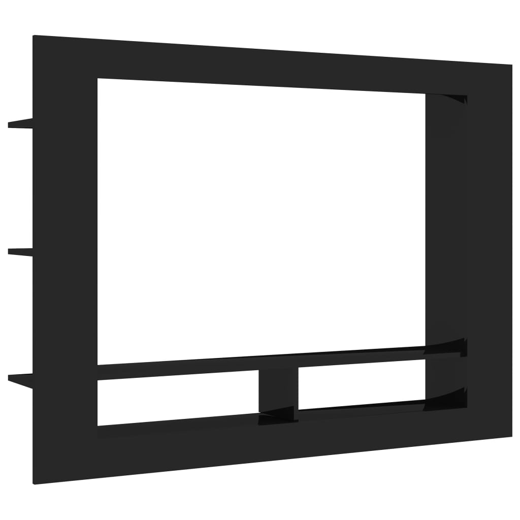TV Cabinet High Gloss Black 152x22x113 cm Chipboard 2