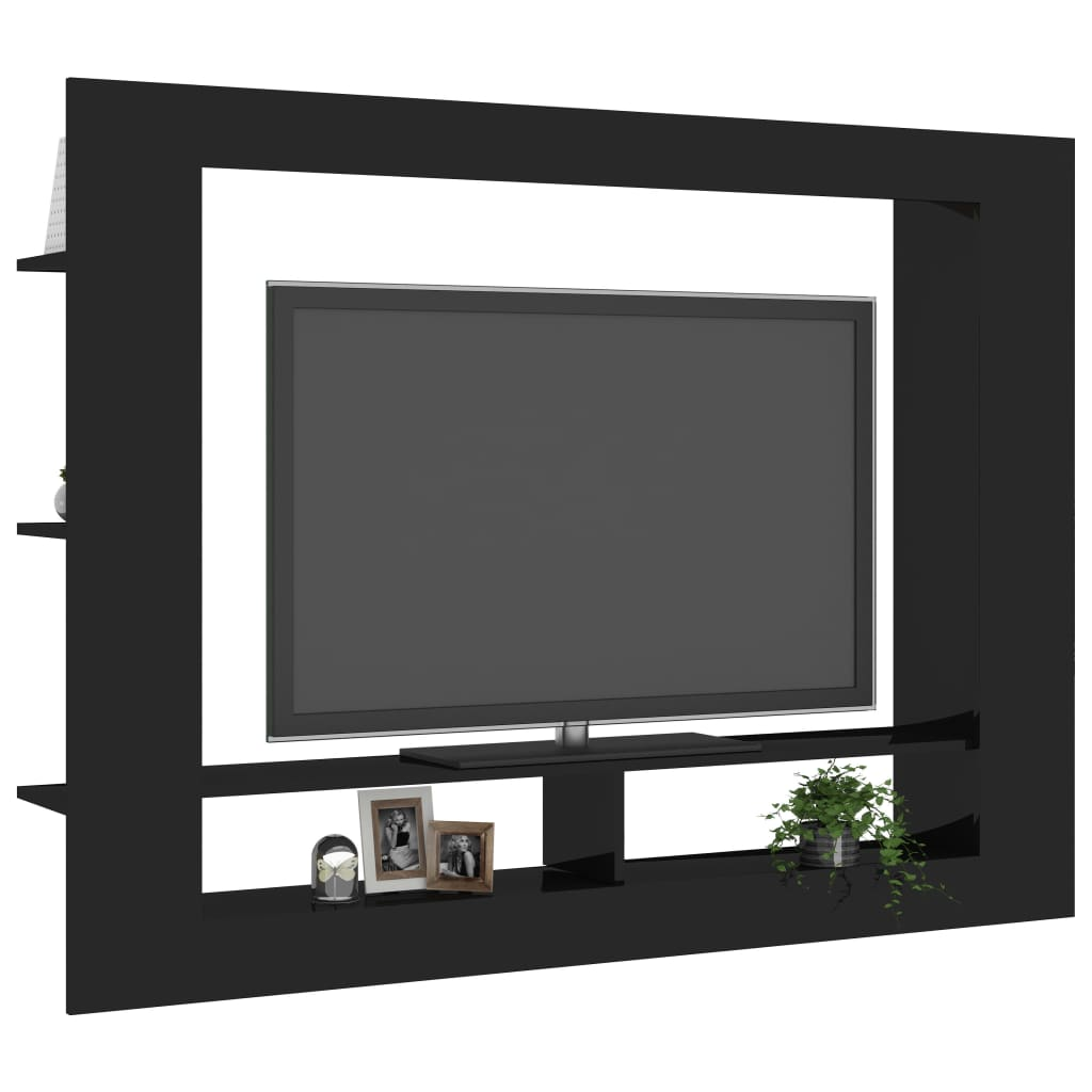 TV Cabinet High Gloss Black 152x22x113 cm Chipboard 3