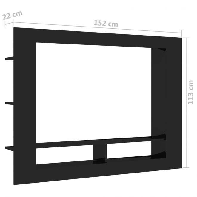 TV Cabinet High Gloss Black 152x22x113 cm Chipboard 6