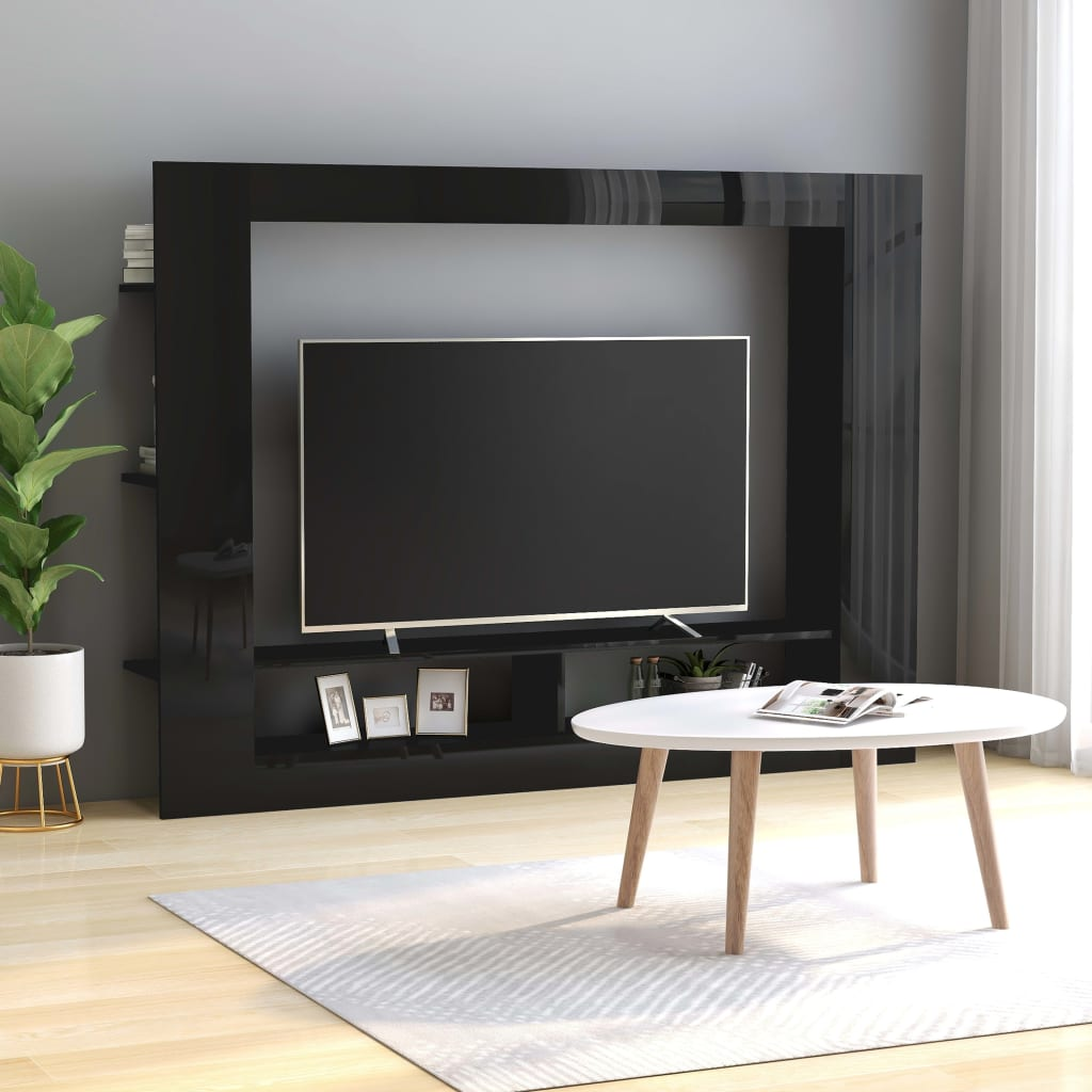 TV Cabinet High Gloss Black 152x22x113 cm Chipboard 1