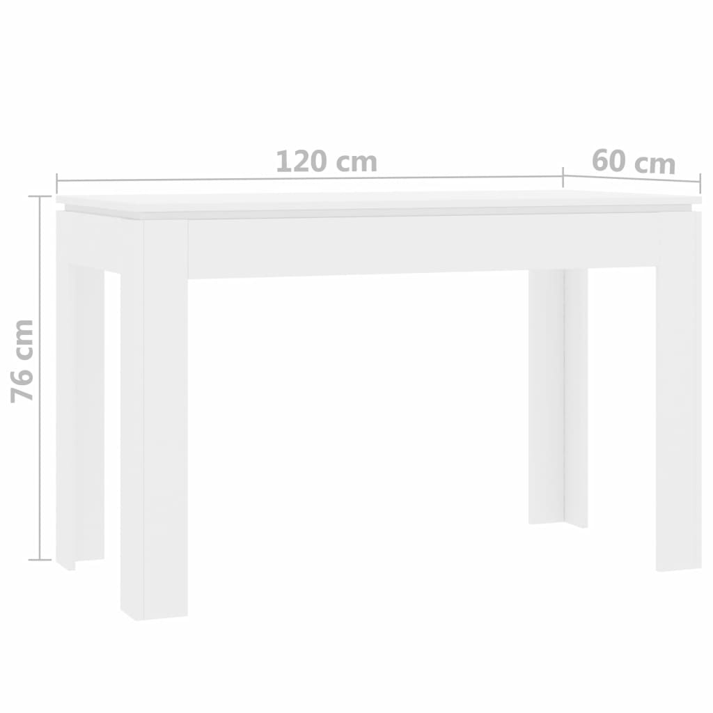 Dining Table White 120x60x76 cm Chipboard 6