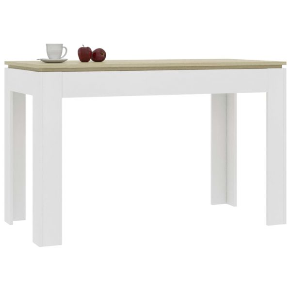 Dining Table White and Sonoma Oak 120x60x76 cm Chipboard 3