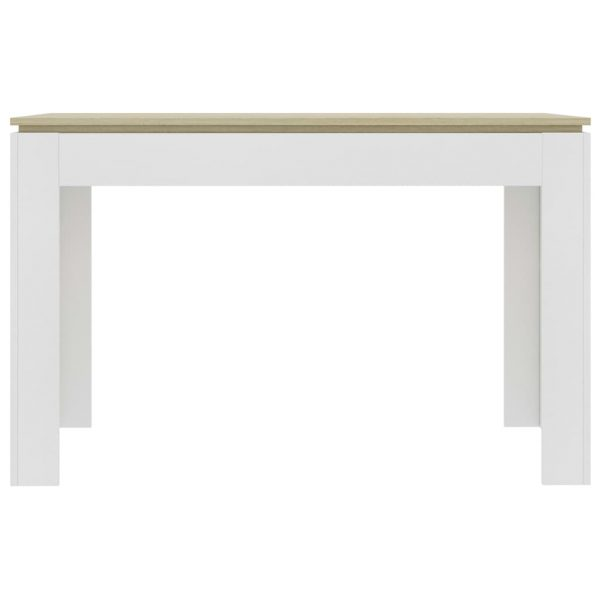 Dining Table White and Sonoma Oak 120x60x76 cm Chipboard 4