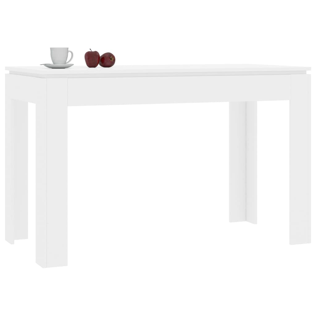 Dining Table High Gloss White 120x60x76 cm Chipboard 3