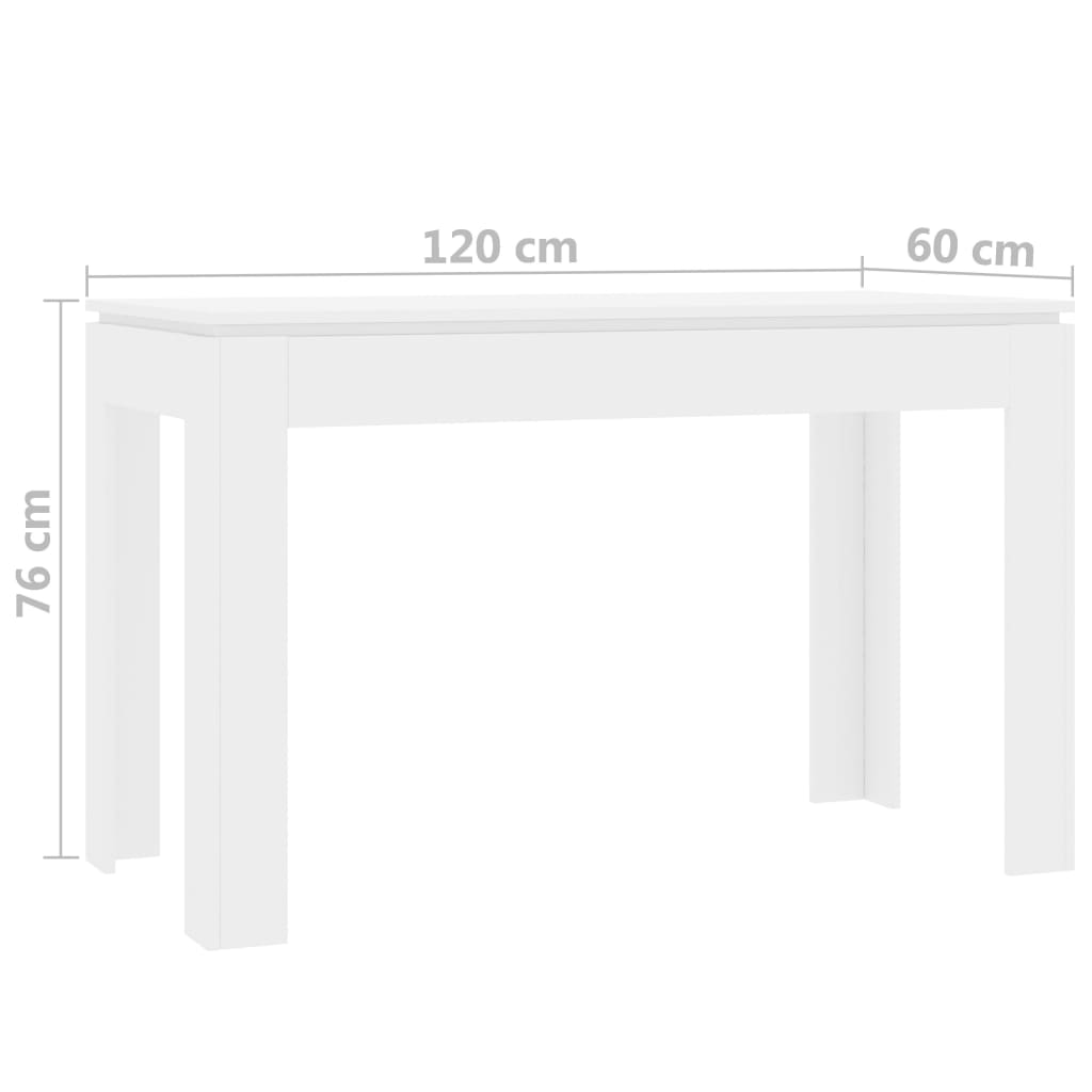 Dining Table High Gloss White 120x60x76 cm Chipboard 6