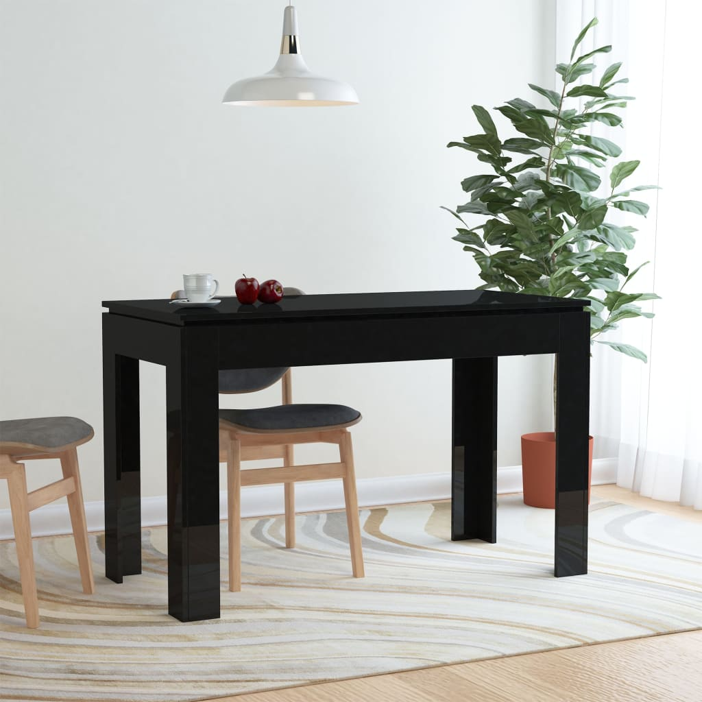 Dining Table High Gloss Black 120x60x76 cm Chipboard 1